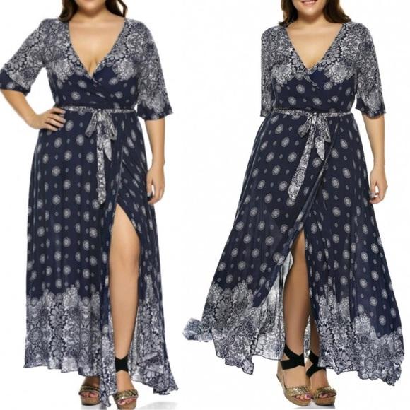 be7f7d9c8 NWT Zaful Plus Size Boho Print Flowy Wrap Dress 18
